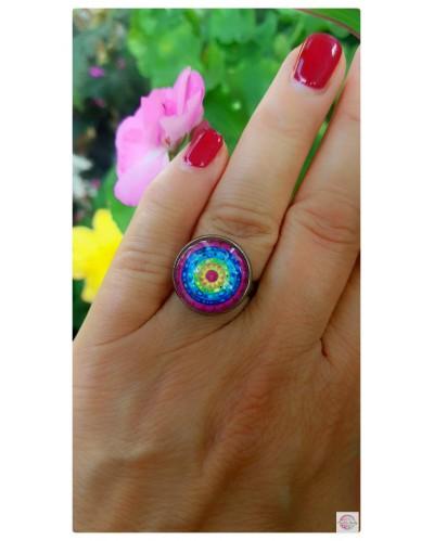"Ring with mandala ""Cosmic Lotus""."