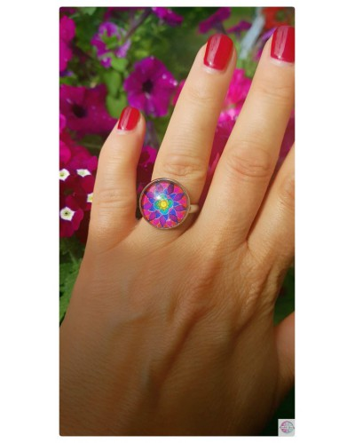 "Ring with mandala ""Flower of Femininity Magenta""."