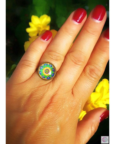 "Ring with the mandala ""Green Lotus I heal myself"""