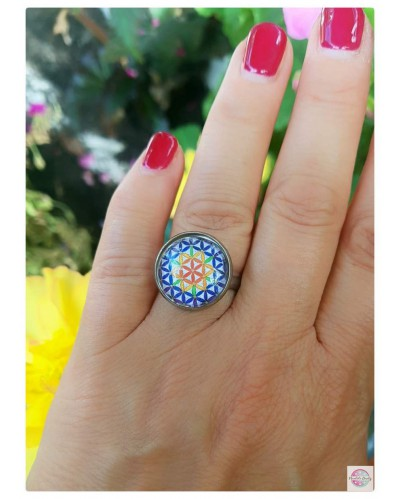 """Ring with a mandala """"Flower of Life""""."""
