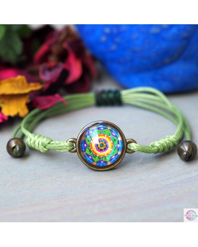 "Bracelet with mandala ""Green Lotus - I heal MySelf""."