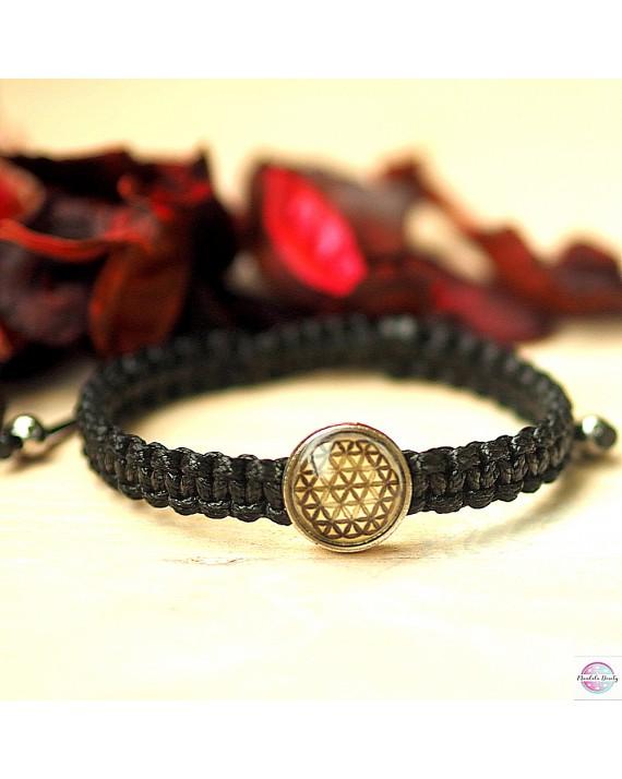 "Braided bracelet with mandala ""Flower of Life""."