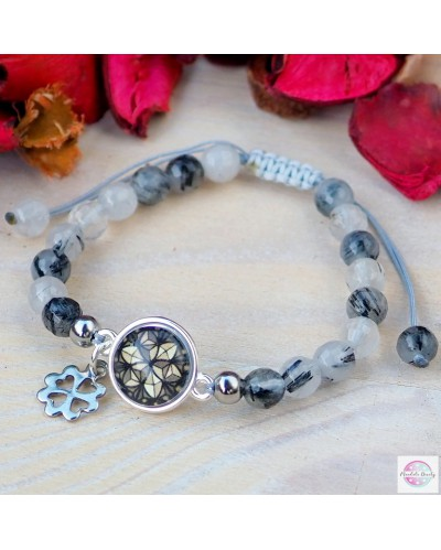 "Braided bracelet with mandala ""Flower of Life"" hematite."