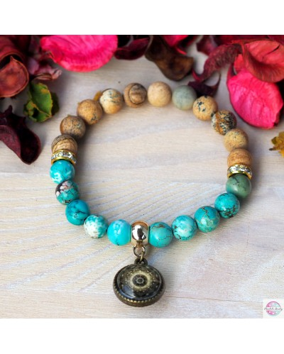 "Positive bracelet with the mandala ""Green Lotus, I heal myself"""