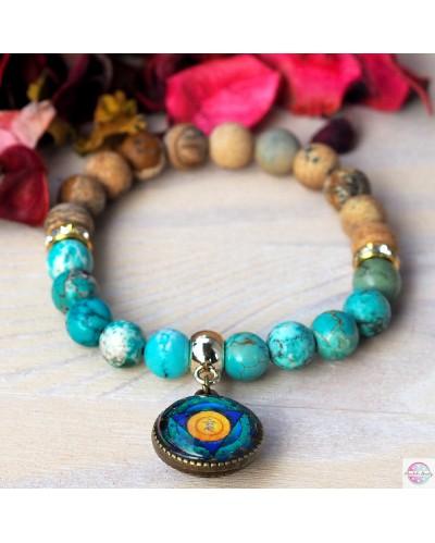 "Bracelet with mandala ""Chakra Throat"" fluorite."