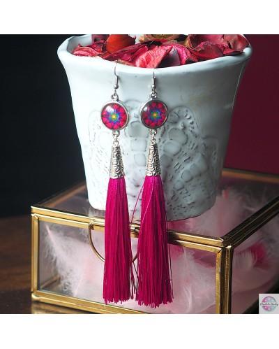 """Earrings with mandala """"Flower of Femininity - magenta"""""""