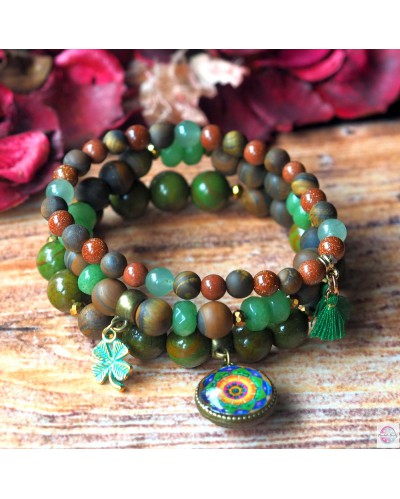 "Set of bracelets with mandala ""Green Lotus - I heal myself""."