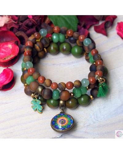 "Set of bracelets with mandala ""Green Lotus - I heal myself""."